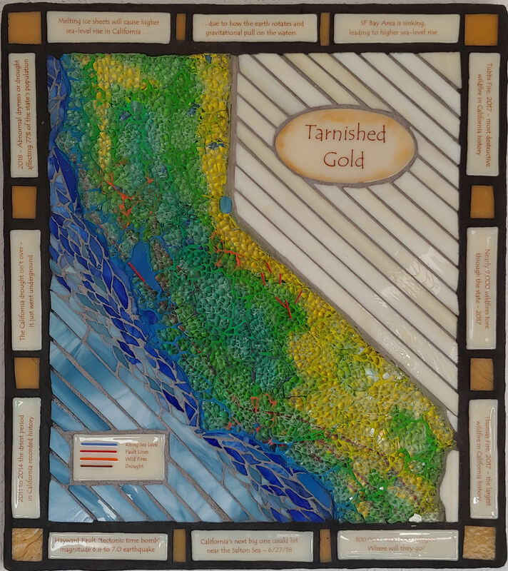 Tarnished Gold - circa 2017. mosaic, earthquake, drought, wild fires, rising sea