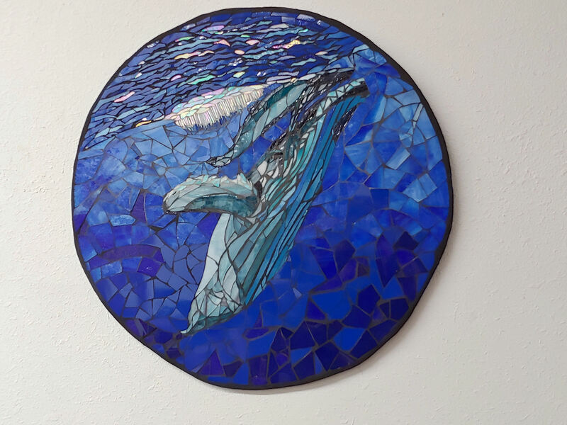 Whale Love, whale mother and calf, mosaic,